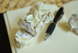 writing crumpled paper